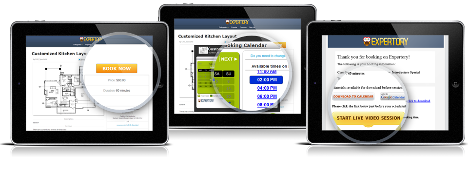 Tablets showing fast and easy booking