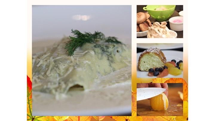 Open Face Ravioli with Shrimp, Mushroom and Parmesan Cream Sauce-Gateau de Savoie with Almond and Citrus Salad