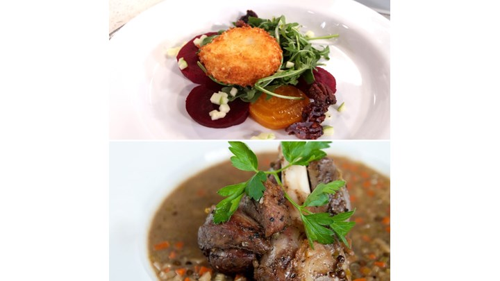 Braised Lamb Shank with French Lentils- Roasted Beet Salad and Pan-Fried Goat Cheese
