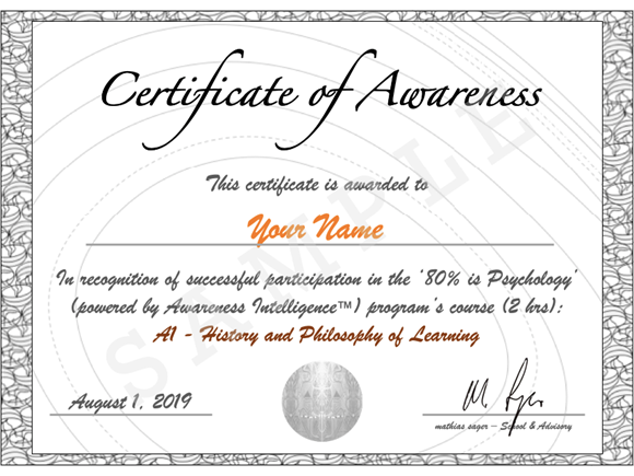 80% is Psychology session for Awareness Certificat