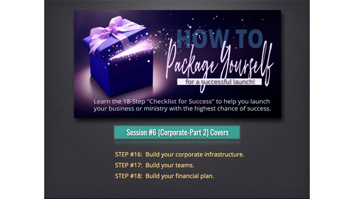 PACKAGE YOURSELF - Session #6:  Corporate - Part 2  (Building Your Financial Plan)