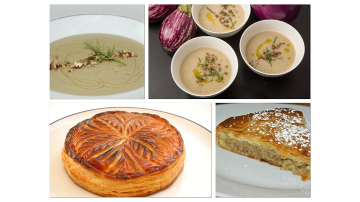 Roasted Eggplant Soup with Fennel and Caramelized Pecan- Almond Pithivier (King Cake)