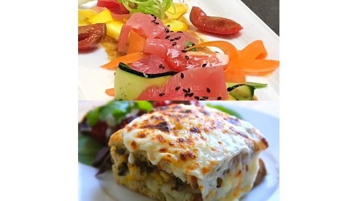 Summer Vegetables with Tuna Crudo- Chicken Croque Monsieur