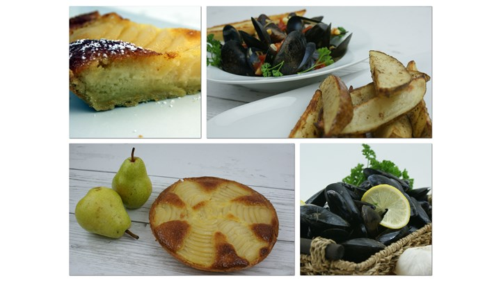 Mussels Marinière with Toasted French Baguette and Oven Roasted French Fries-Pear Almond Tart