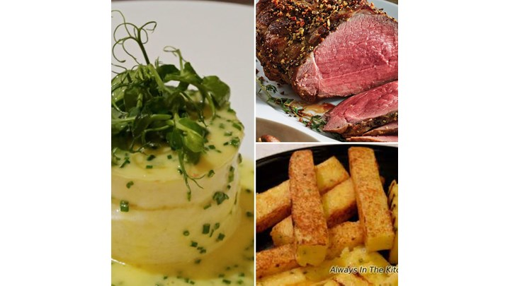 Crab Custard with Chive Butter Sauce- Roast Beef with Fry Polenta and Spinach