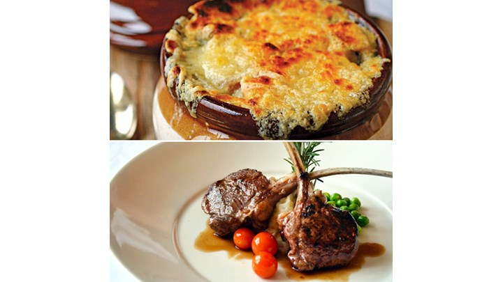 French Onion Soup - Pan-Seared Lamb Chops with Polenta and Rosemary Jus