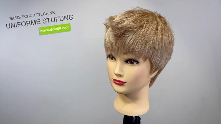 Uniforme Stufung / klassischer Pixie Haarschnitt