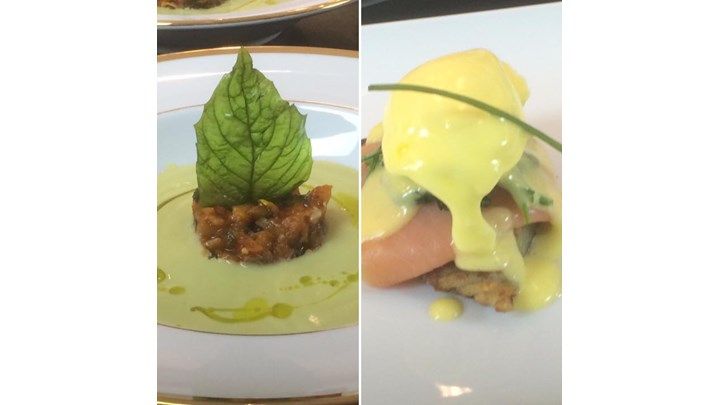 Chilled Avocado Soup with Ratatouille- Poached Eggs with Smoked Salmon and Hollandaise Sauce