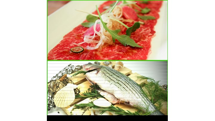 Beef Carpaccio Pickle Cucumber- Roasted Whole Rockfish with Fresh Herbs with Olive Oil Vinaigrette