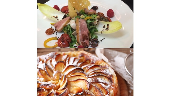 Duck Breast Salad with Arugula, Endive and Raspberries -Warm Apple Tart with Vanilla Ice Cream