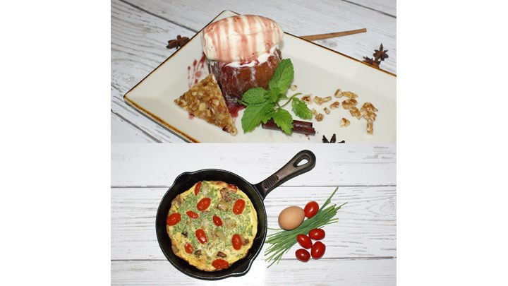 Frittata with Potatoes, Swiss cheese and Grape Tomatoes-Baked Apples in Red Wine, Vanilla Ice Cream and Pecan Nougatine