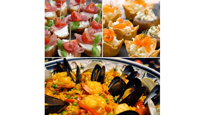 Paella with Seafood and Chicken- Smoked Salmon Canapé-Goat Cheese, Sundried Tomato Canapé