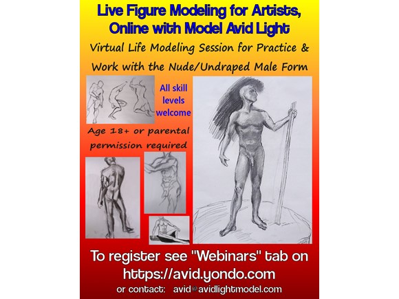 Live Figure Modeling for Artists - 3hr Online Session with Avid (Undraped)
