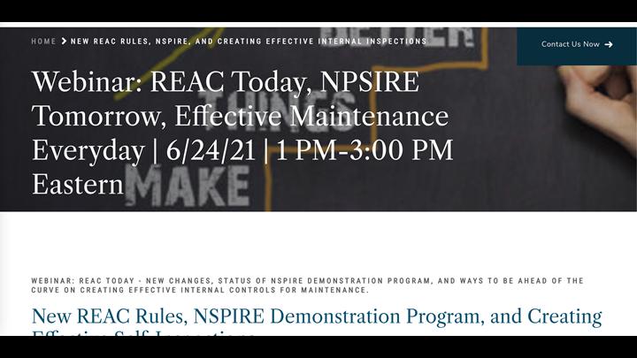 REAC Today, NPSIRE Tomorrow, Effective Maintenance Everyday