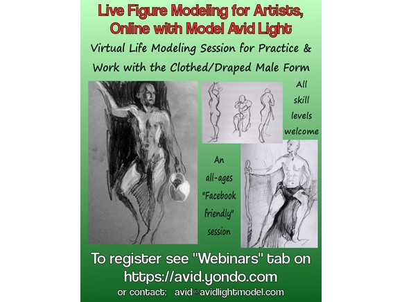 Live Figure Modeling for Artists - 2hr Online Session with Avid (Draped/Clothed)