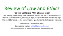 Kathy Wexler MFT Exam Preparation