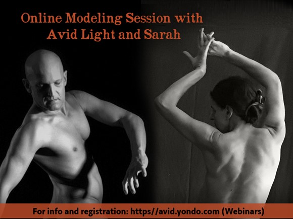 Live Online duo Figure Modeling with Sarah and Avid (un-draped session, 3 hours)
