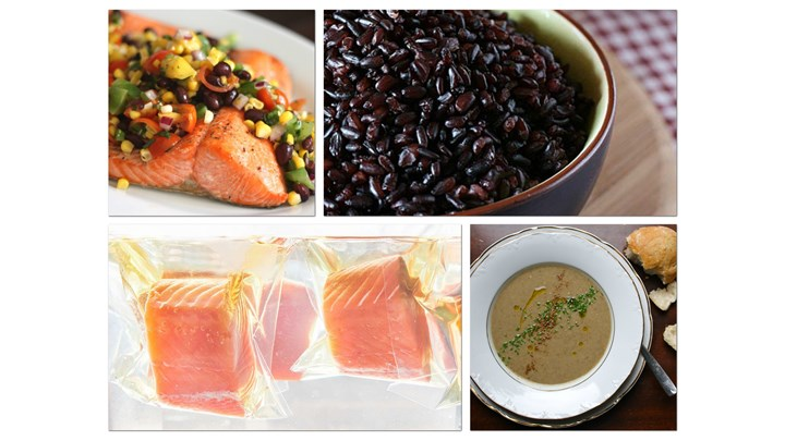 Lentil Soup and Geilled Sous-Vide Salmon with Forbidden Rice