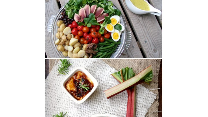Salad Niçoise with Seared Fresh Tuna- Rhubarb Crème Brulée