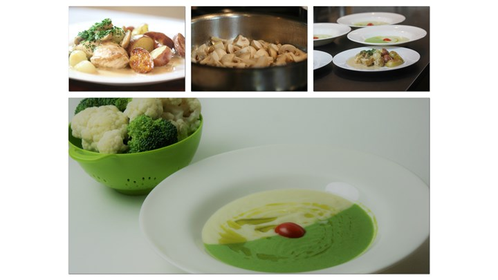Broccoli and Cauliflower Soup-Chicken Breast Champagne Sauce with Pearl Onion, Fingerling Potatoes and Mushrooms