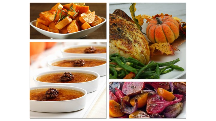 Roasted Turkey or large Chicken Breast Haricots Verts Casserole with Tomato, Oven Roasted Sweet Potato, Oven Roasted Assorted Beets-Pumpkin Crème brulée